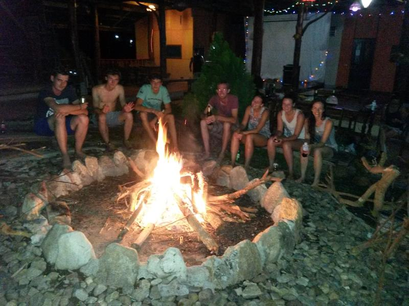 bonfire at hostel in pai village